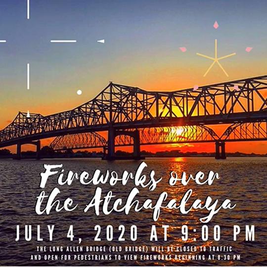 Fireworks over the Atchafalaya on the Cajun Coast in Morgan City